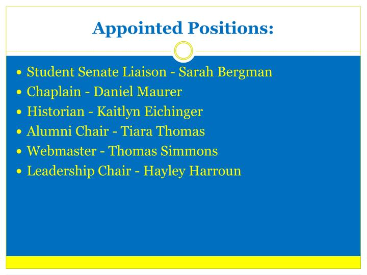 Appointed Positions: