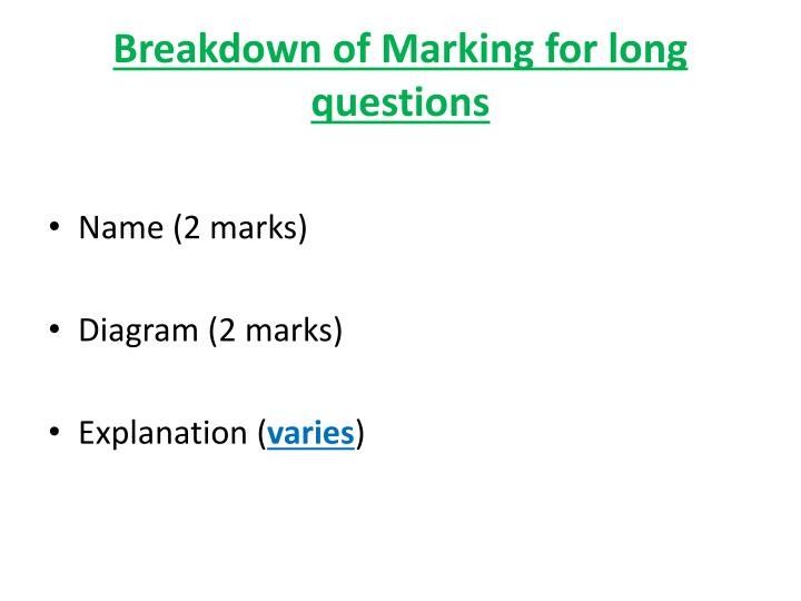 Breakdown of marking for long questions