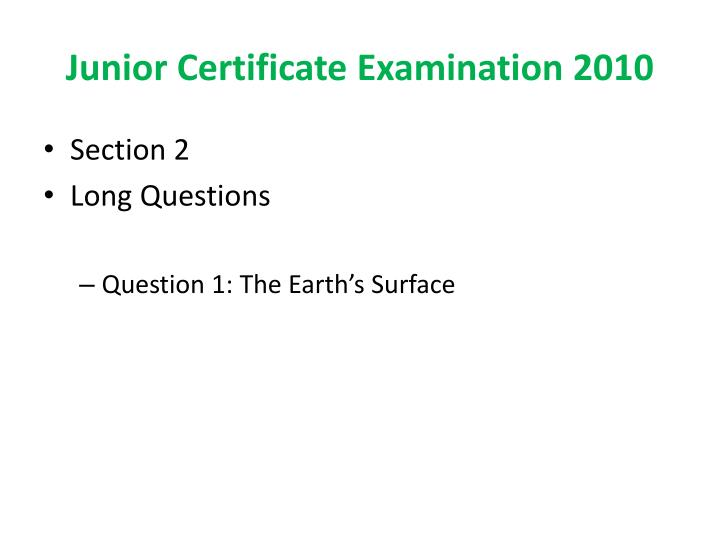 Junior Certificate Examination 2010
