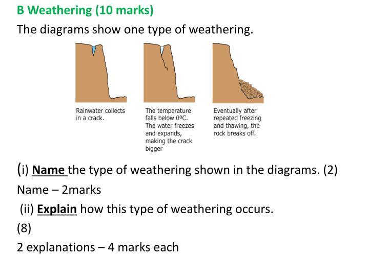B Weathering (10 marks)