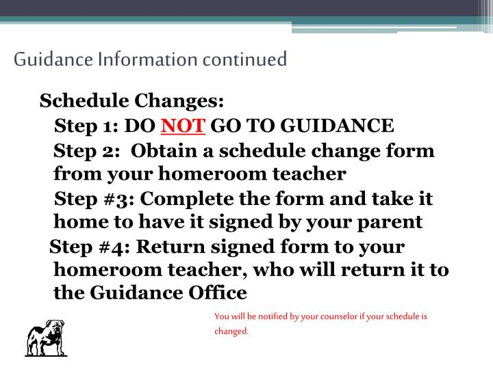 Guidance Information continued