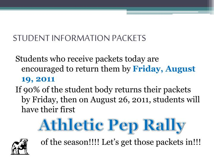 STUDENT INFORMATION PACKETS