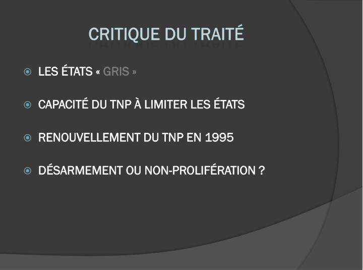 Critique du TRAITÉ