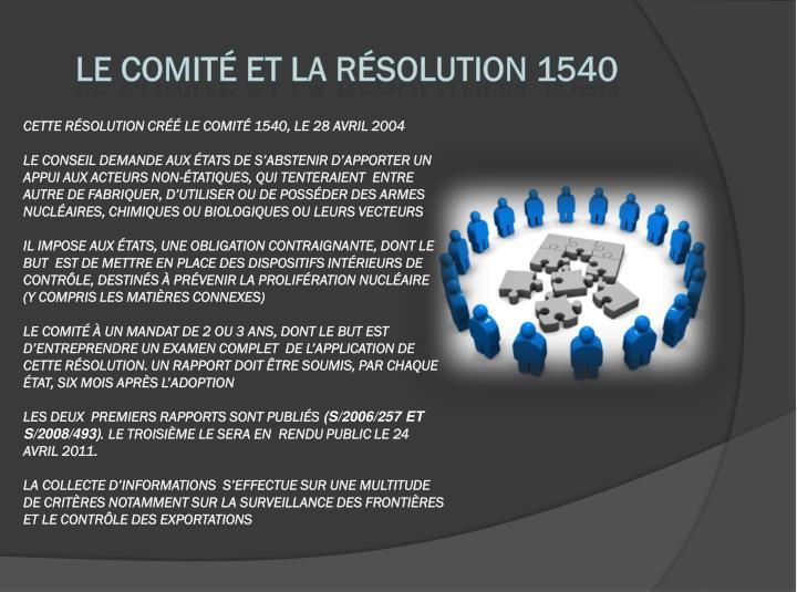 Le Comité et la résolution 1540