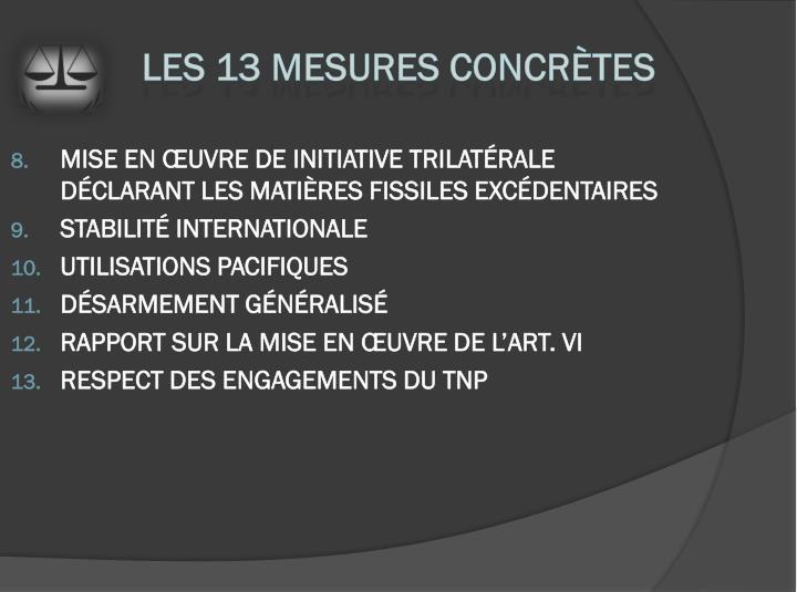 Mise en œuvre de Initiative trilatérale déclarant les matières fissiles excédentaires