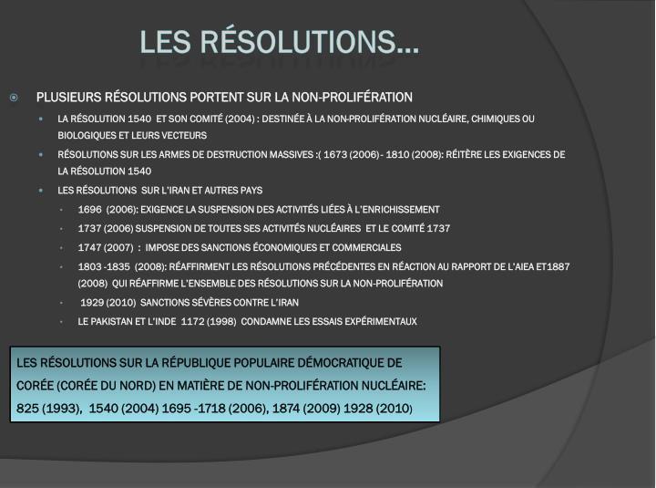 Les résolutions…