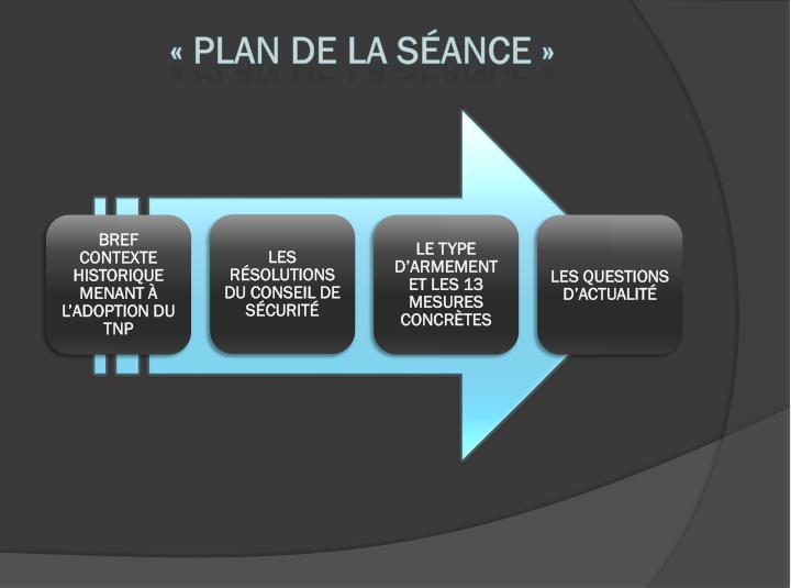 «Plan de la séance»