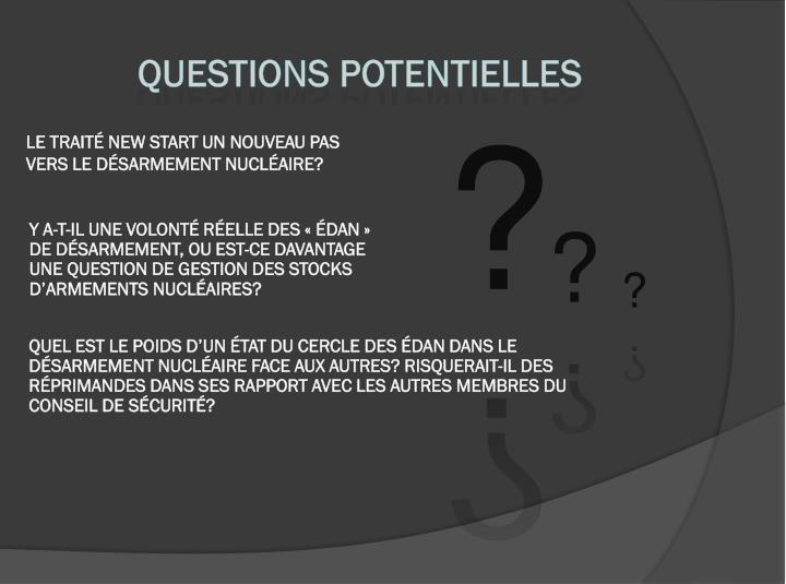 Questions potentielles
