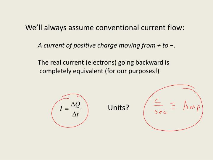 We'll always assume conventional current flow: