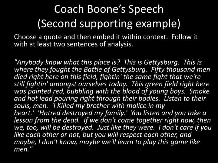 Coach Boone's Speech