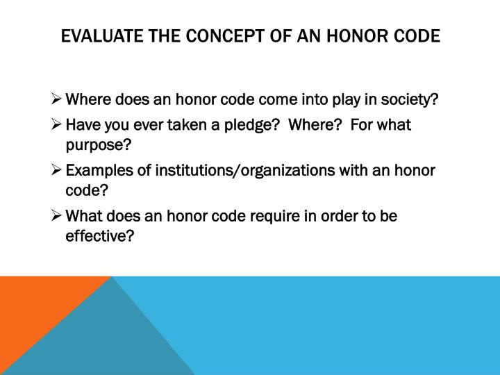Evaluate the concept of an Honor Code