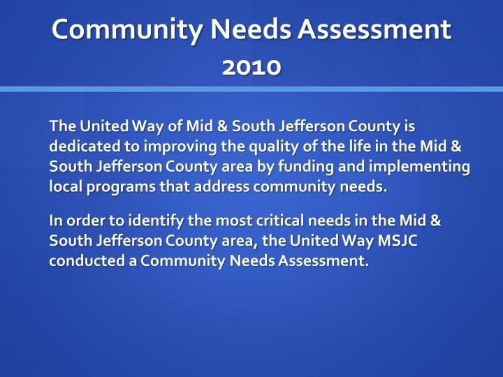 Community Needs Assessment 2010
