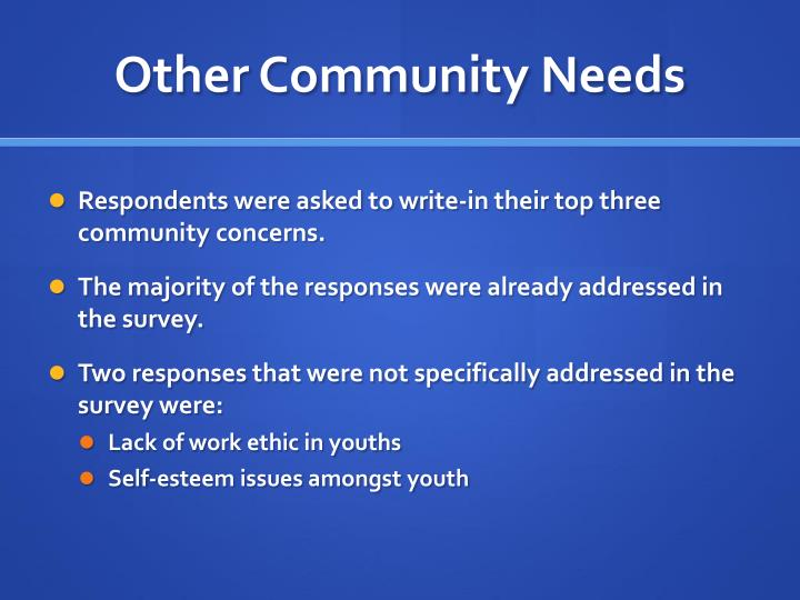 Other Community Needs