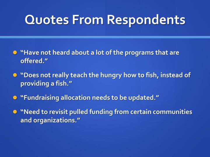 Quotes From Respondents
