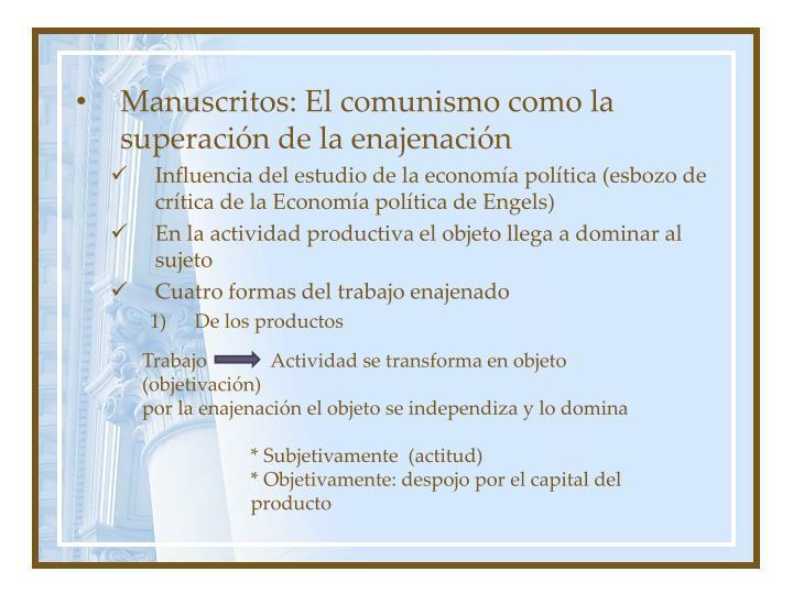 Manuscritos: El comunismo como la superación de la enajenación