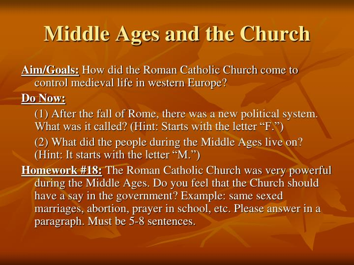 Middle ages and the church