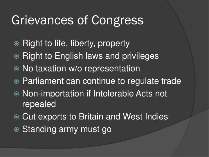 Grievances of Congress