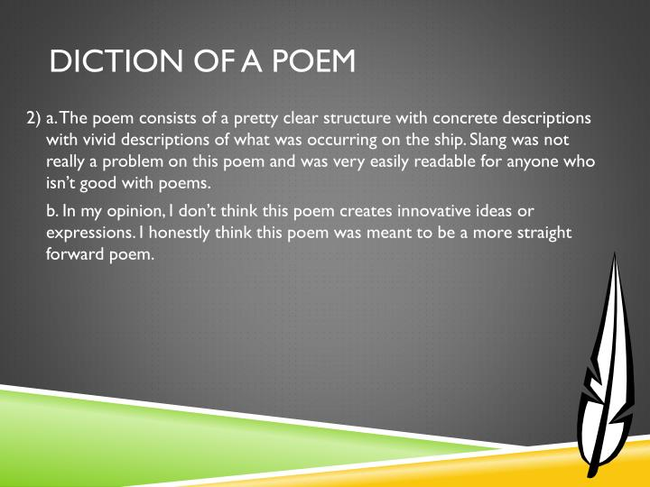 Diction of a Poem