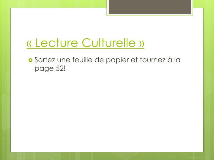«Lecture Culturelle»