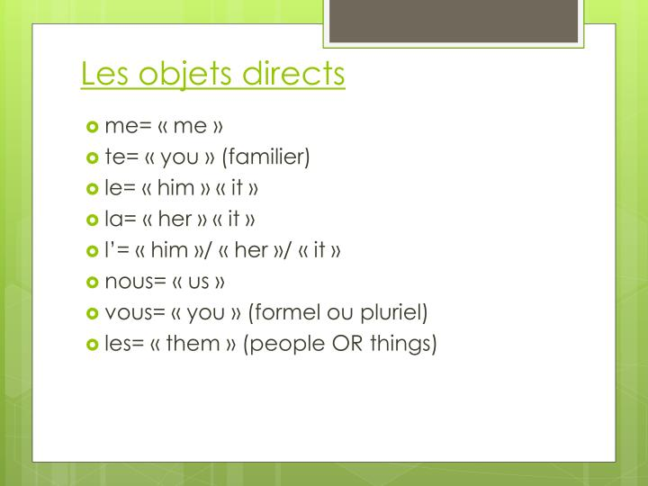 Les objets directs