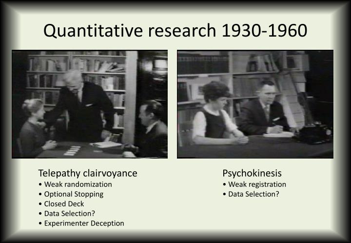 Quantitative research 1930-1960