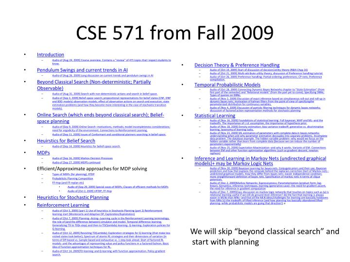 CSE 571 from Fall 2009