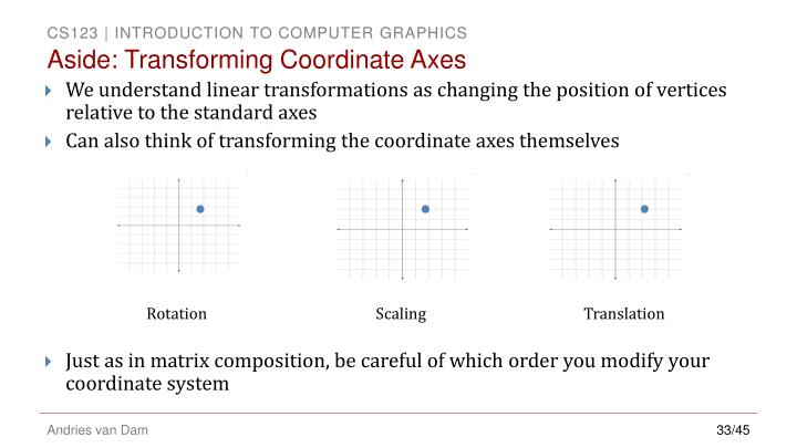 Aside: Transforming Coordinate Axes