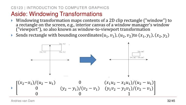 Aside: Windowing Transformations