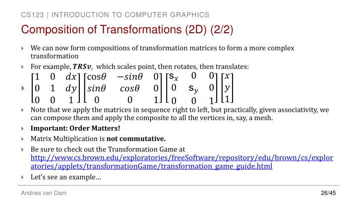 Composition of Transformations (2D)