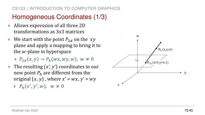 Homogeneous Coordinates (1/3)