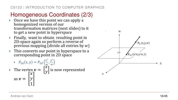 Homogeneous Coordinates (2/3)