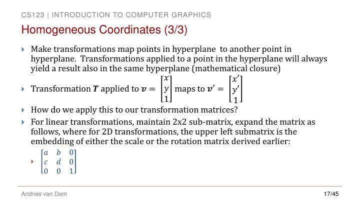 Homogeneous Coordinates (3/3)