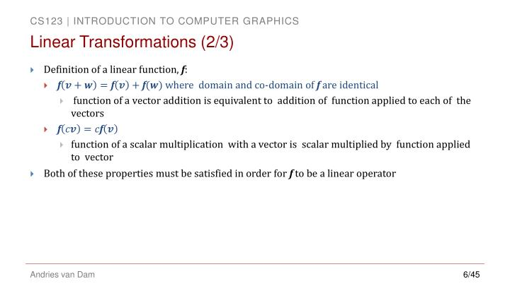 Linear Transformations (2/3)