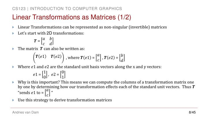Linear Transformations as Matrices (1/2)