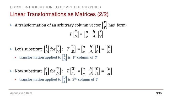 Linear Transformations as Matrices (2/2)