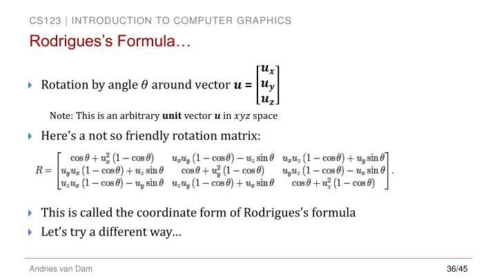 Rodrigues's Formula…