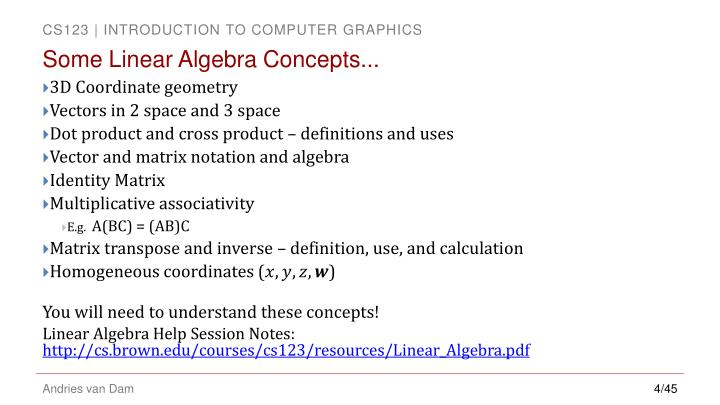 Some Linear Algebra Concepts...
