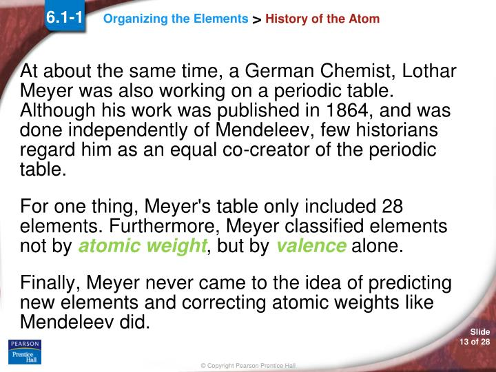 the role of meyer and mendeleyevs in creating the periodic table He helped create the periodic table but mendeleev beat him to it  meyer developed a table of elements which closely resembles modern periodic table.