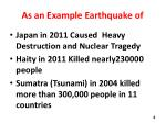 as an example earthquake of