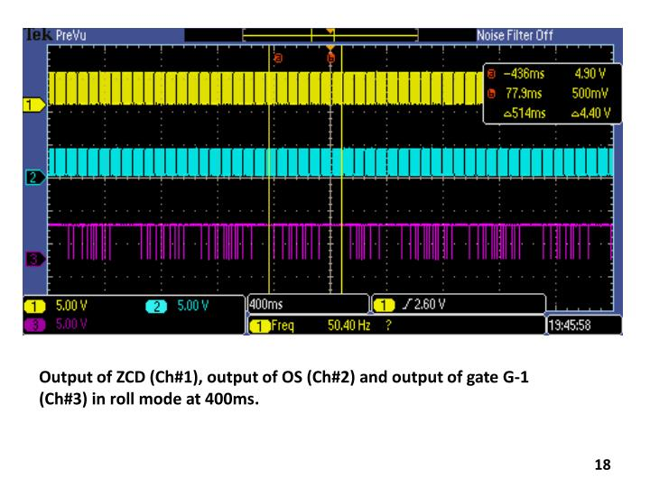 Output of ZCD (Ch#1), output of OS (Ch#2) and output of gate G-1 (Ch#3) in roll mode at 400ms.