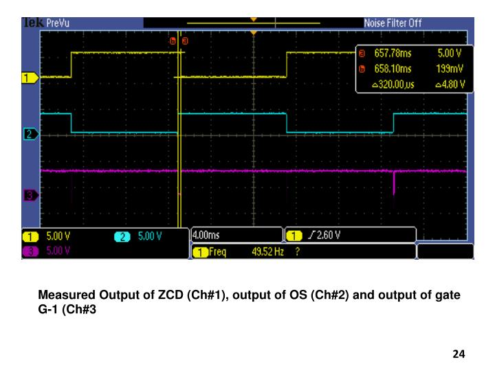 Measured Output of ZCD (Ch#1), output of OS (Ch#2) and output of gate G-1 (Ch#3