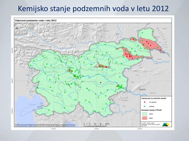 Kemijsko stanje podzemnih voda v letu 2012