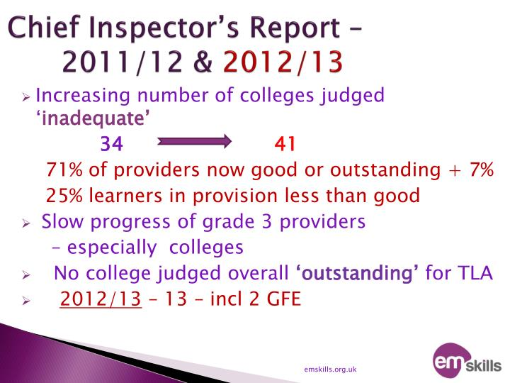 Chief inspector s report 2011 12 2012 13