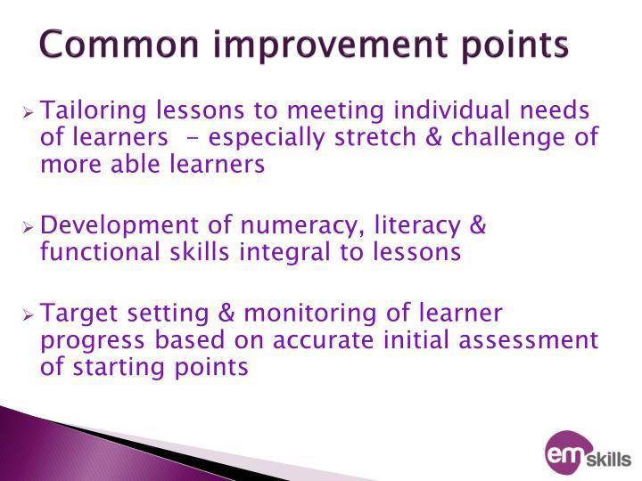 Common improvement points