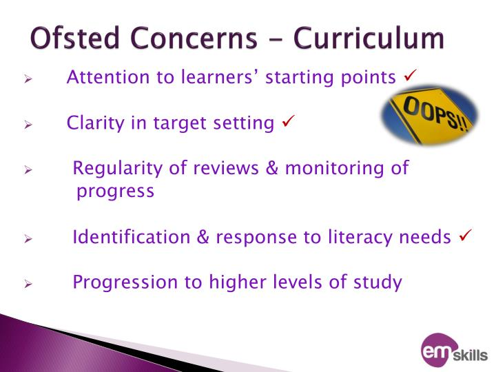 Ofsted Concerns - Curriculum