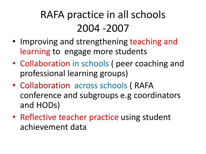 RAFA practice in all schools