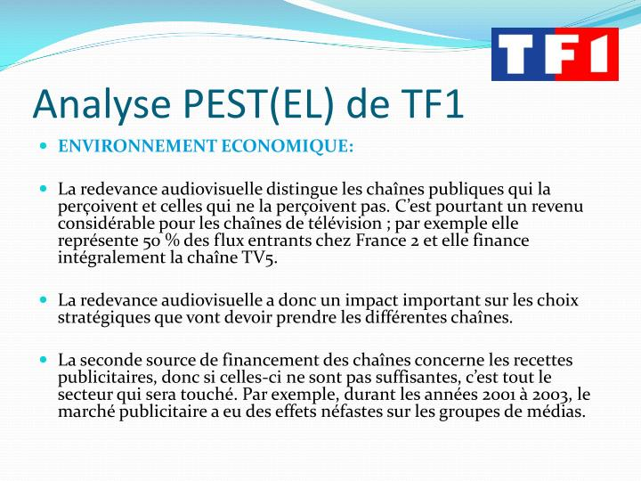 Analyse PEST(EL) de TF1