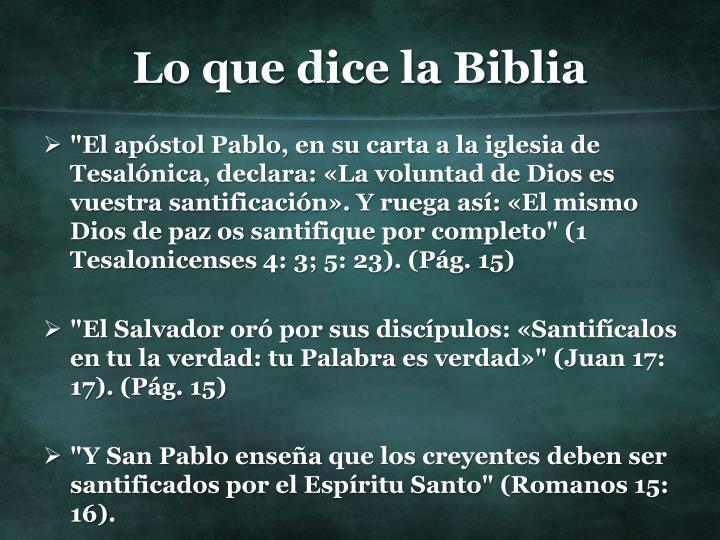 Lo que dice la Biblia