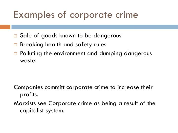 Examples of corporate crime