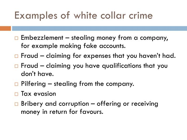 Examples of white collar crime